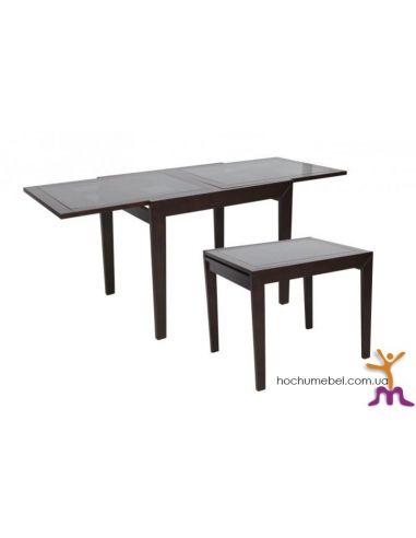 Стол Сандра 0,9 венге черное стекло