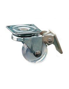 Ролик мебельный прозрачный с тормозом KM-AH35MM-00