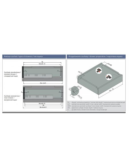 Направляющая для 18мм ДСП скрытого монтажа полного выдвижения 3D