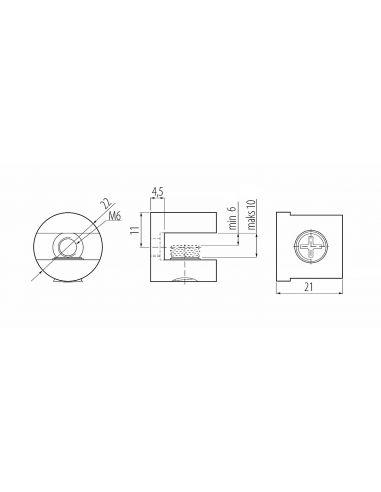 Полкодержатель J65 для стекла цилиндр до 10мм