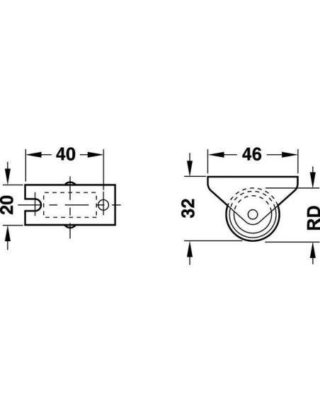 Ролик для мягкой мебели H32мм D27мм до 20кг Hafele
