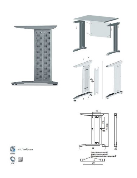 Металл. каркас для стола GTV SB-A60X72-80