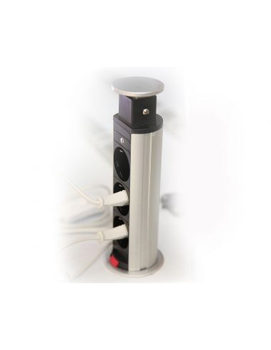 Настольный скрытый разветвитель 60мм 3хSchucko серый (AE-BPW3/60-80)