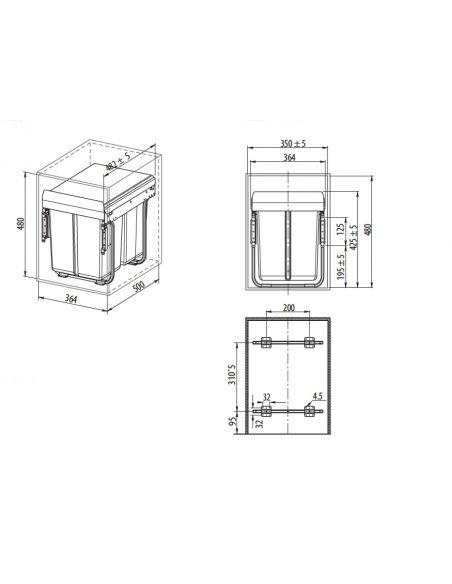 Ведро-сегрегатор для шкафа 400мм без переднего крепления (PB-45-002х20)