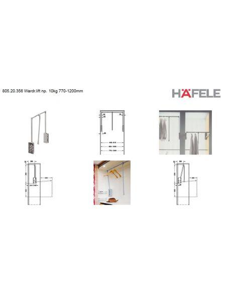 Гардеробный лифт-пантограф HAFELE 10 кг.770-1200 мм никель 805.20.356